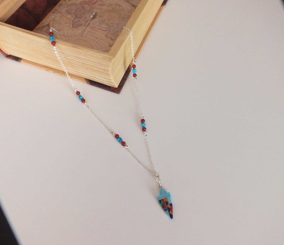 Turquoise and Carnelian Native American Inspired Station Necklace w/ Turquoise Inlaid Arrowhead, Native jewelry, arrowhead pendant