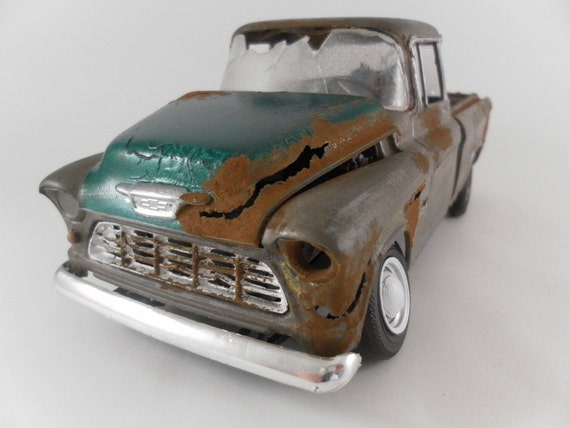 1955 Chevy pick up truck 1/24 scale model car in metallic tan