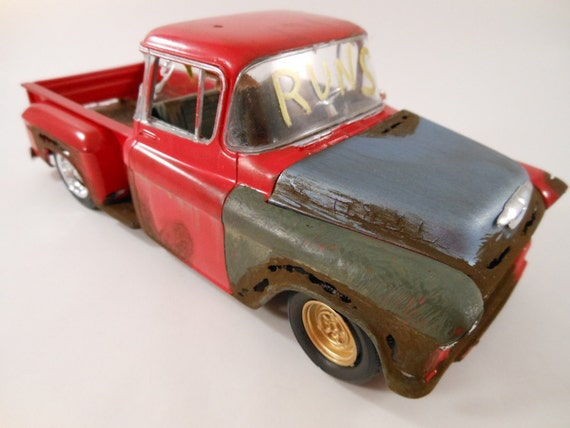 1950s Chevy truck 1/24 scale model car in red