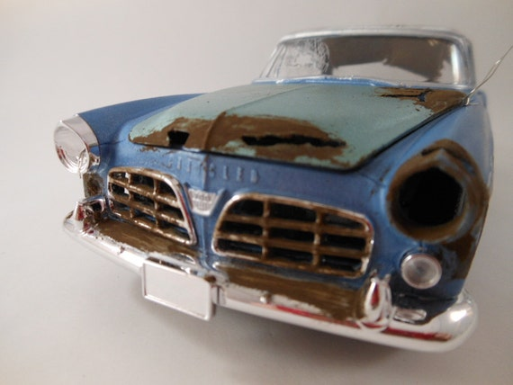 1955 Chrysler 300 1/24 scale model car in blue