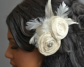 Gorgeous Silk Rosette Wedding Hair Piece with Amazing Large Rhinestone Center and Feathers / Fascinator / Hair Clip / Belt Clip. 0262
