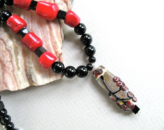 Red necklace, Lampworked bead necklace, red Coral, Onyx, gemstones, beaded necklace 279