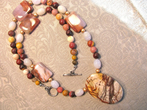 Picasso Jasper with Mookite necklace 175
