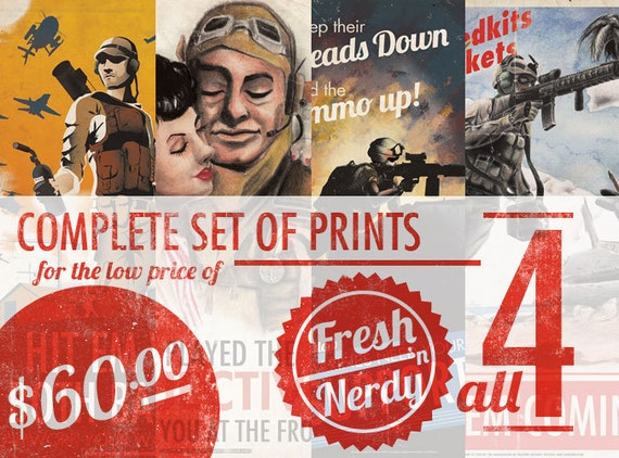 Full set of 4 Battlefield Tips Prints Bundle - Large
