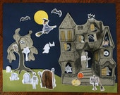 Halloween Sale, Haunted House Halloween Craft Kit for Kids, a Peekaboo House sticker collage kit for kids 5 & up