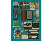 Cool Retro Stuff Poster - Digital Illustration