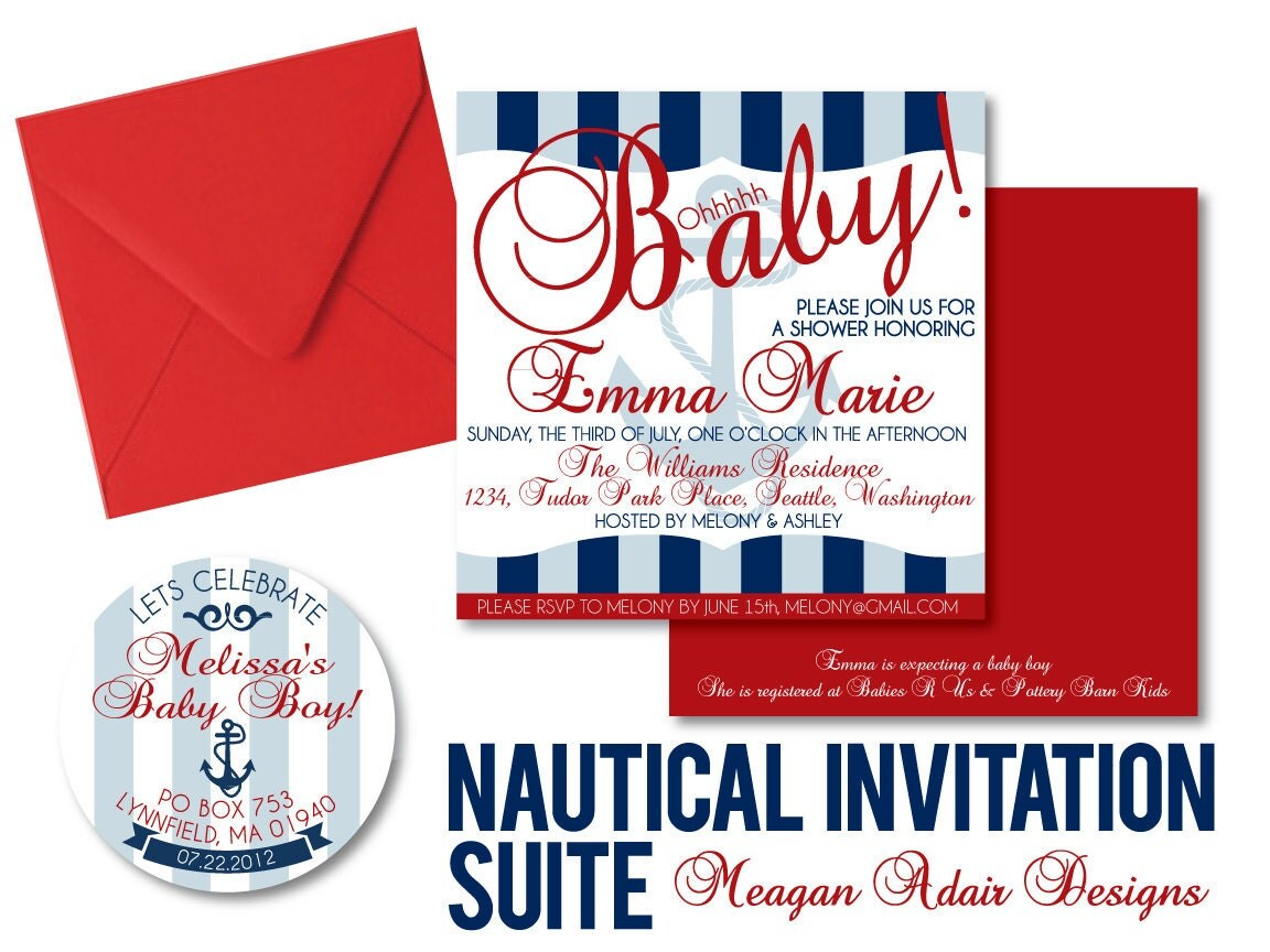 nautical baby shower invitation square by meaganadair on etsy