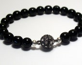 RESERVED Perfect Black Onyx Bracelet with Pave Rhinestone clasp