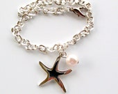 Silver Starfish and Pearl bracelet