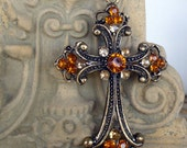 Renaissance Topaz Rhinestone Cross and chain necklace
