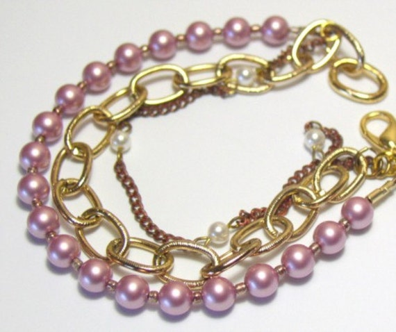 Three in one bracelet with Lavendar Pearls, copper chain with tiny white pearls, and gold tone chain