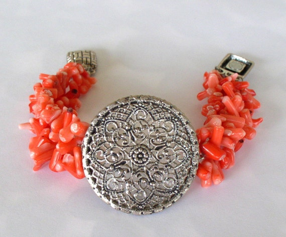 Coral and filigree metal bracelet with magnetic clasp