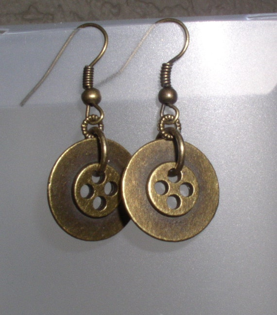 Pedal to the Metal round disc brass earrings