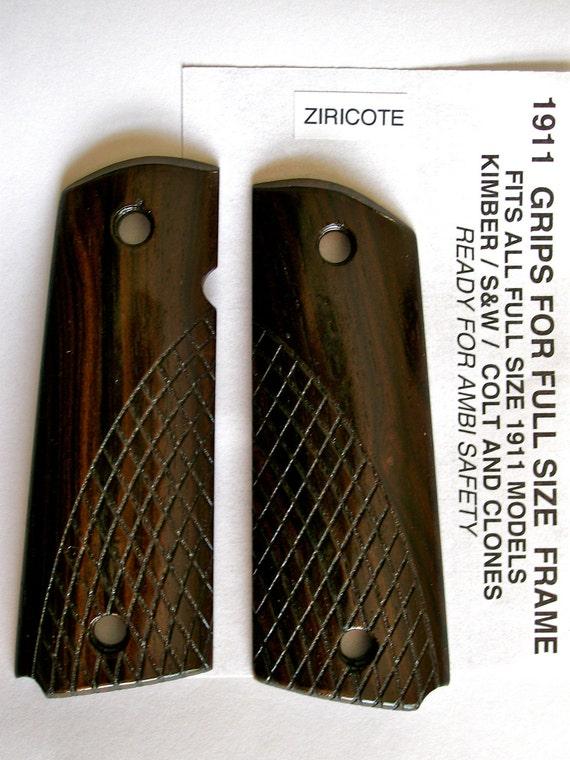 Custom Made 1911 Model Gun Grips- Ziricote wood- Diamond texture for grip