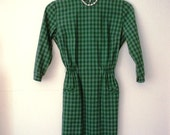 Clearance ,Sale!! --Vintage 1960s Green Plaid Day Dress Mad Men style