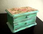 Shabby Chic Light Teal Cottage Wooden jewelry box