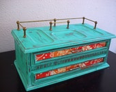 Teal Wooden Jewelry Box / Valet