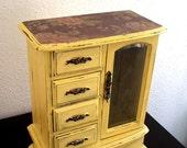Cottage Yellow  Flora Wooden Jewelry Box (Music Box)