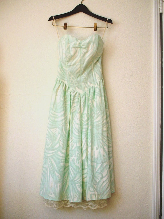 Vintage 80s ALL THAT JAZZ  strapless baby blue floral  Dress