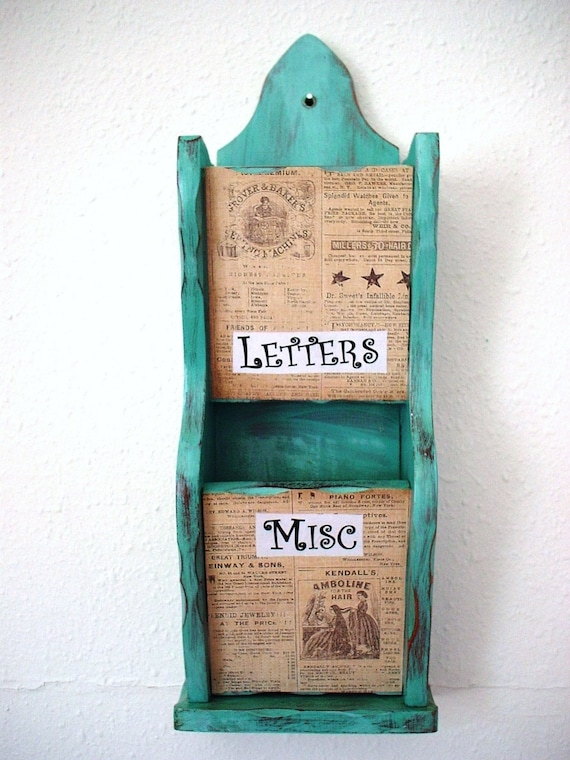 Shabby chic wall mount teal wooden letter holder by njsdreamboxes - Wooden letter holder wall mount ...