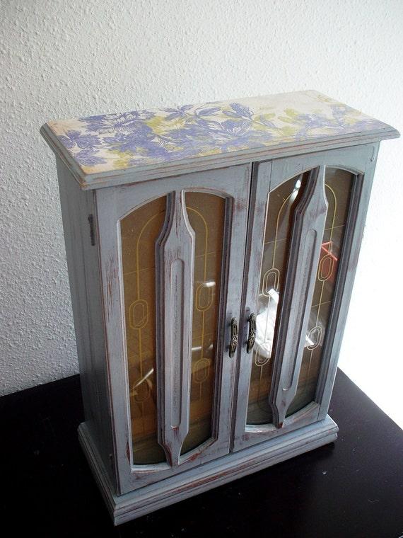 Large Elegant Gray  Flora Wooden Jewelry Box