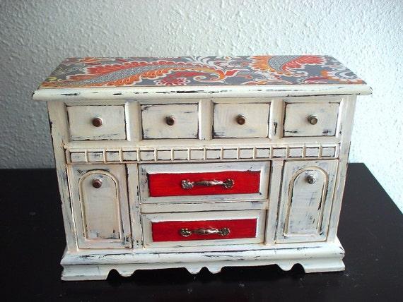 Hand painted Autumn Orange/Cream  Wooden Jewelry box