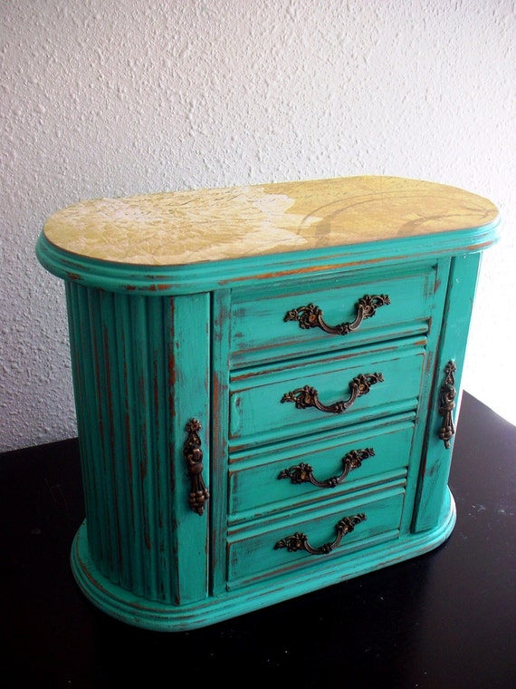 Summer Time Blue Flora Wooden Jewelry Box