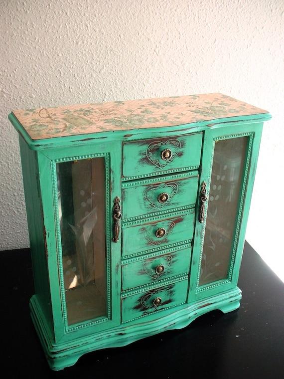 Love Tattoo Teal Wooden Jewelry Box