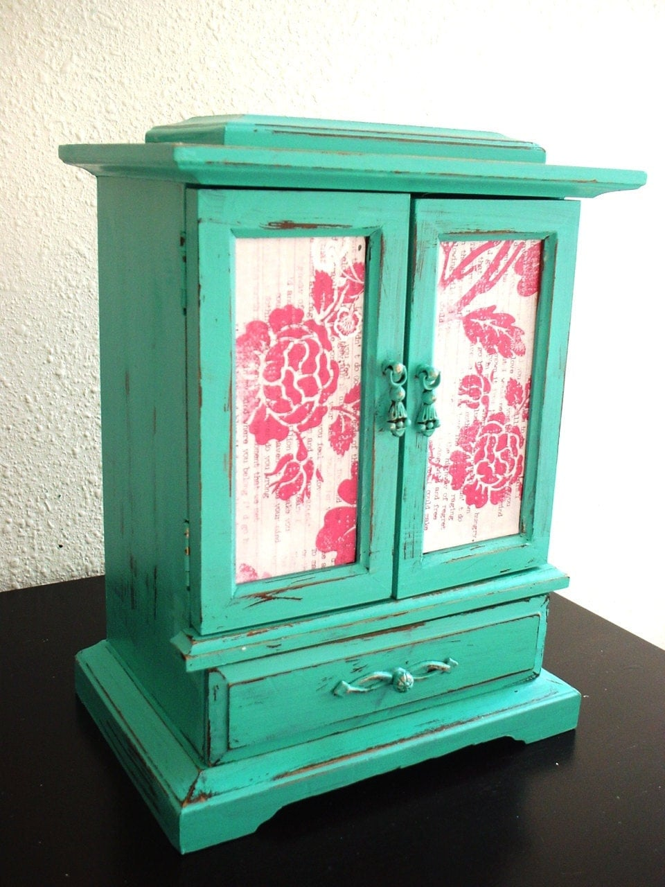 Shabby Chic Teal Wooden Jewelry Box Music Box