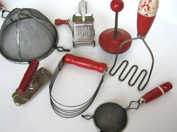 Red Kitchen Utensils--Reduced Price