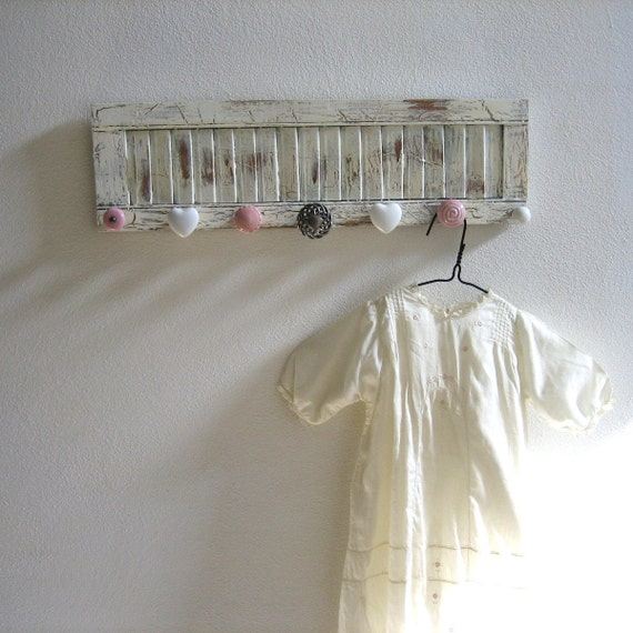 Nursery Accessories Rack on a Vintage Shutter