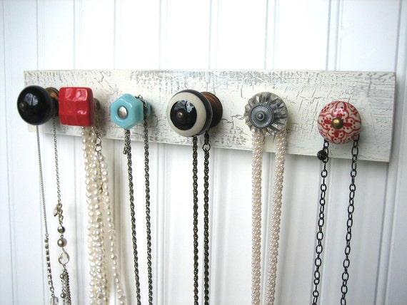 Necklace Holder / Jewelry Display with Red, Blue, and Black