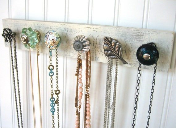 Necklace Holder / Jewelry Display with Mint Green, Silver, and Teal