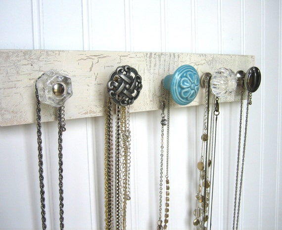 Jewelry Holder Necklace Display with Baby Blue Flower Knob