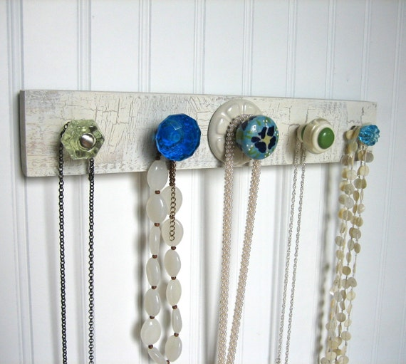 Jewelry Rack with Green and Blue Deliciousness--AKA Herb Drying Rack