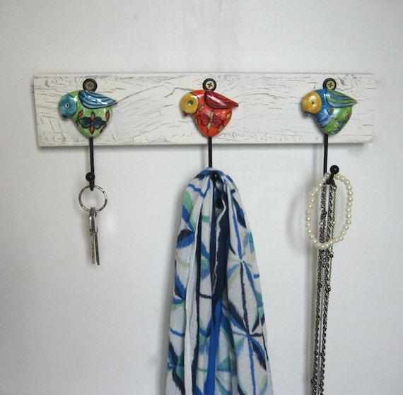 Key Rack / Necklace Hanger with 3 Ceramic Bird Hooks