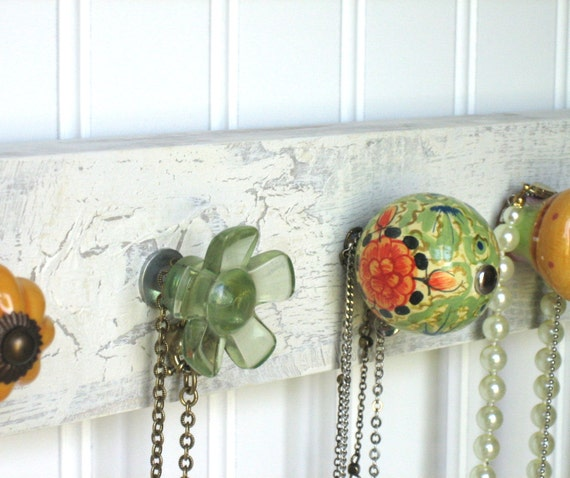 Necklace Organizer / Accessories Rack in Orange and Green