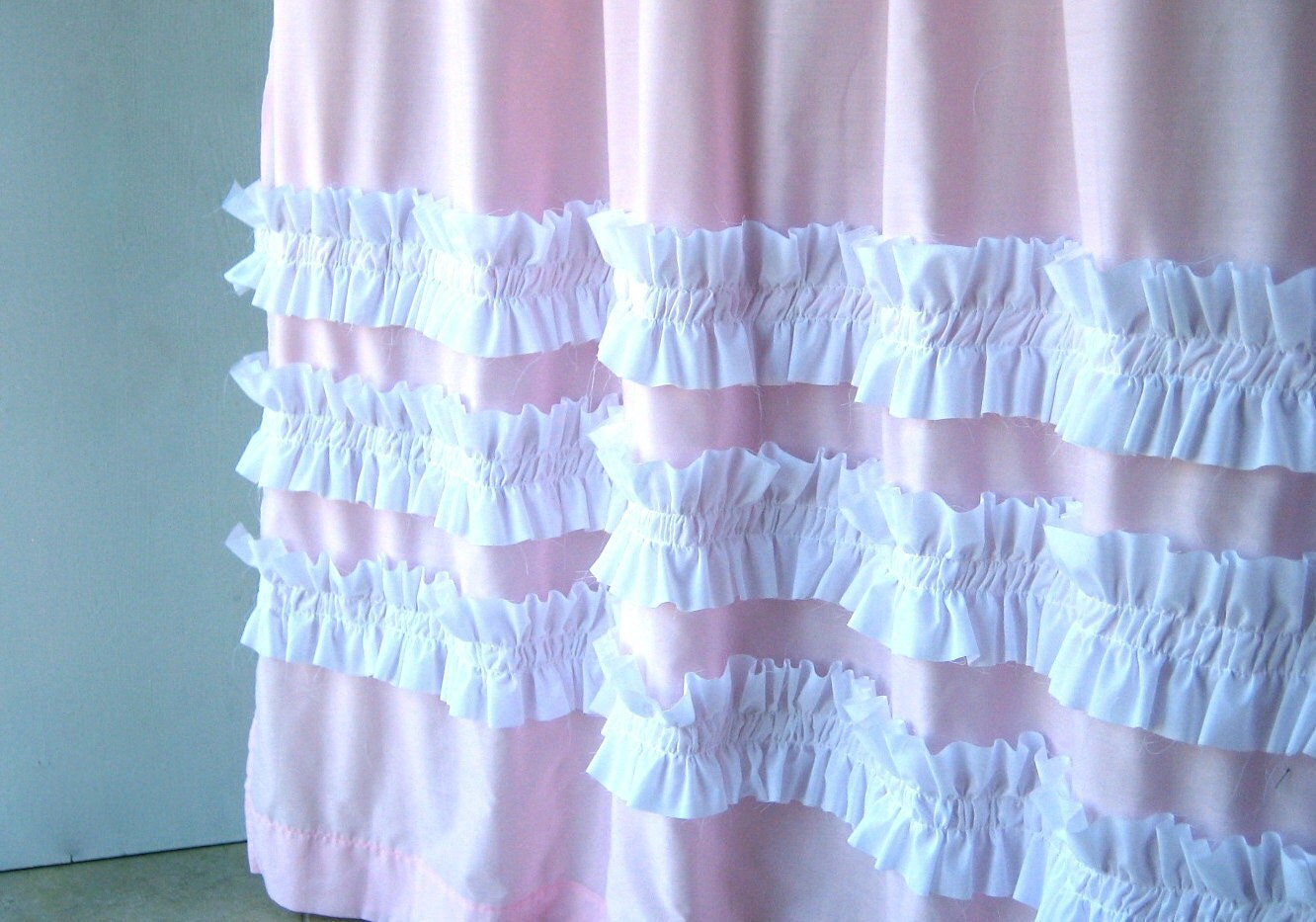Shower Curtains: Perfect In Pink Shower CurtainPink With White Ruffles