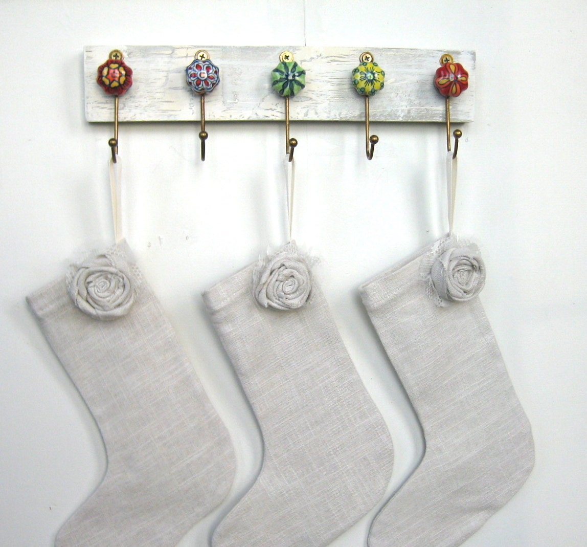 Wall Hooks Stocking Holder Key Ring Holder With Ceramic