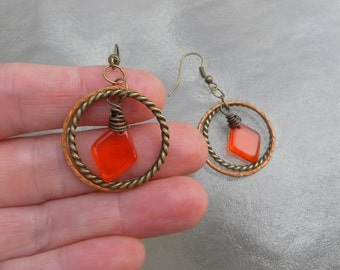 Orange Earrings Nature Earrings Tangerine Earrings Rustic Small Earrings Wire Wrapped
