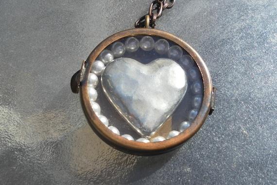 Heart Locket Necklace Shabby Romantic Rustic Hippie Love Locket Brass Necklace OOAK