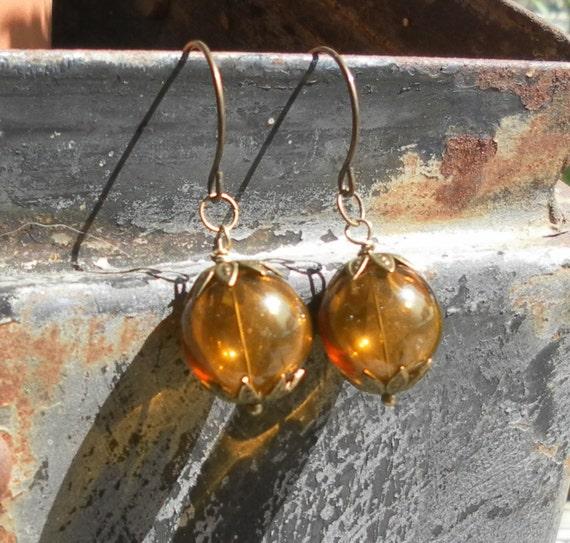 Topaz Glass Earrings Hand Blown Glass Earrings Earthy