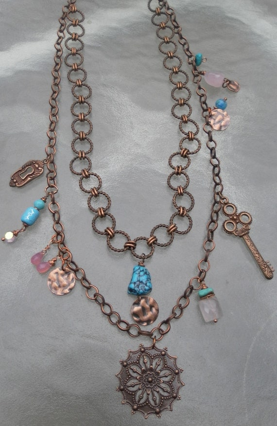 Copper Bohemian Necklace Turquoise Two Strand Chain Pink Blue Necklace