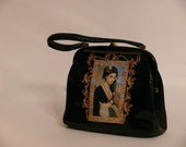 "Leather french vintage couture   handbag  "" The ORIENTAL WOMAN "" unique piece  retro chic art bag steampunk bag french  touch"
