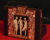 "Leather vintage couture  handbag  "" The three GRACES ""  unique piece retro chic art bag  steampunk bag  french touch"