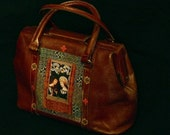 "leather french vintage couture unique handbag"" AMOUR COURTOIS"" ""  retro chic  art bag  french touch steampunk bag"