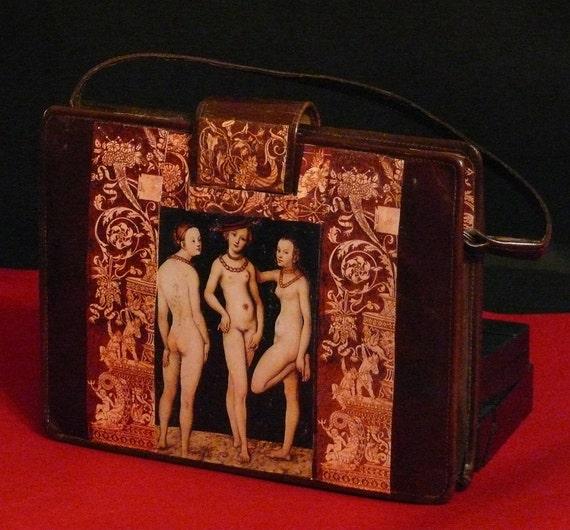 "Leather vintage couture  handbag  "" The three GRACES ""  unique piece retro chic art bag  steampunk bag  french touch"