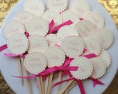 12 Personalized Cupcake Toppers. Tea Party. Pink Princess. Chic Party.