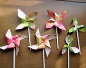 6 Spring Summer Pinwheels. Cake Cupcake Decoration Toppers.