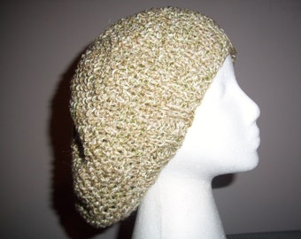 Soft Green, Tan and Beige yarns in a seed stitch pattern make for a lovely Hat